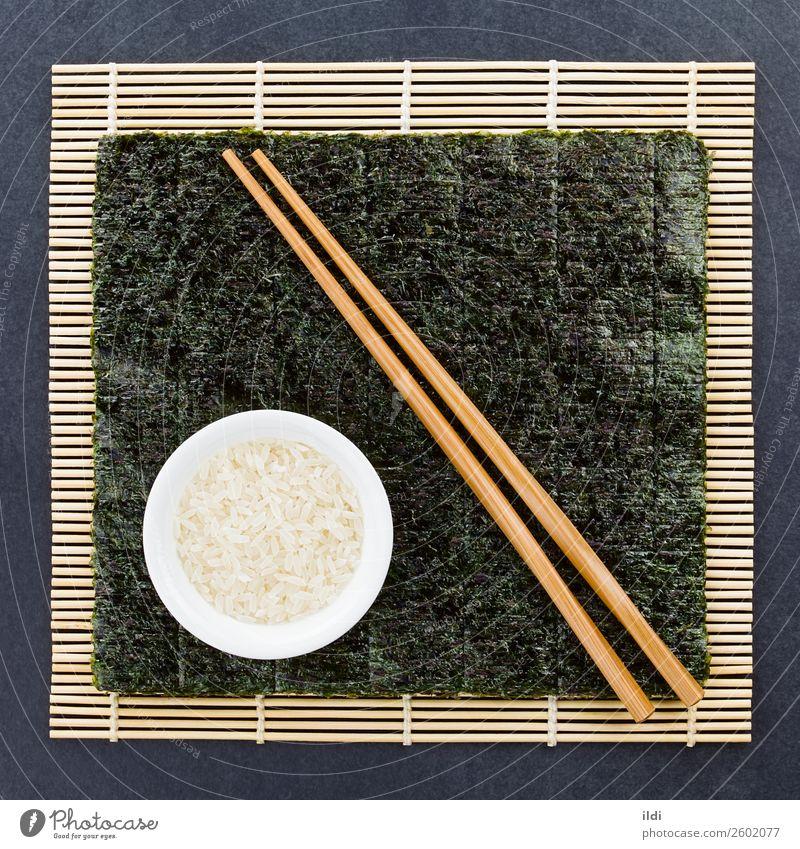 Sushi Zutaten Gesundheit Lebensmittel vorbereiten vorbereitend Essen zubereiten nori Seegras trocknen getrocknet makisu Unterlage Bambusmatte Japanisch Reis