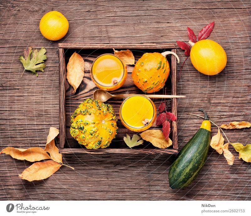 Gesunder Kürbis-Smoothie trinken Herbst fallen Lebensmittel Glas Gemüse Getränk Gesundheit orange frisch Vegetarier süß Cocktail Saft Dessert rustikal Squash