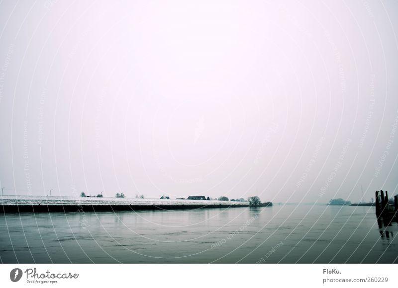 Erster Schnee an der Elbe Natur blau Wasser weiß Winter Umwelt kalt Landschaft grau Küste Eis Nebel Hamburg trist Frost Fluss