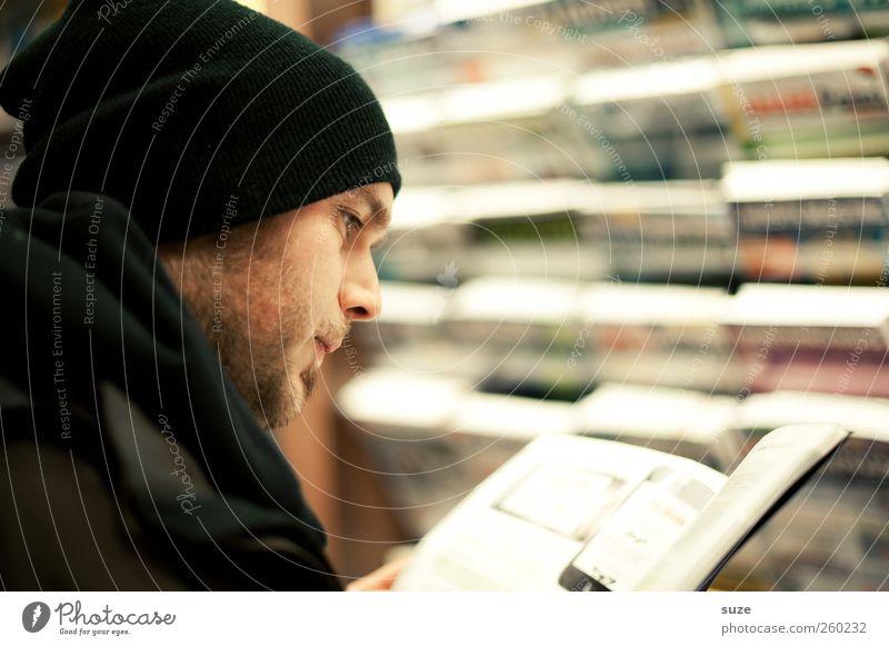 Newsreader Lifestyle kaufen Gesicht Freizeit & Hobby lesen Bildung Studium Student Mensch maskulin Junger Mann Jugendliche Erwachsene Kopf Bart 1 18-30 Jahre