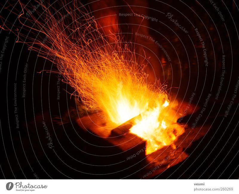 Feuer hell gelb Wärme heiß dunkel gefährlich Glut Flamme Brennholz Nacht Farbfoto Außenaufnahme Textfreiraum links Textfreiraum unten Hintergrund neutral