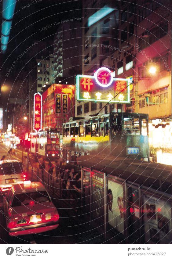 hongkong1 Asien China Hongkong Nacht Neonlicht Verkehr Erfolg Straße Licht