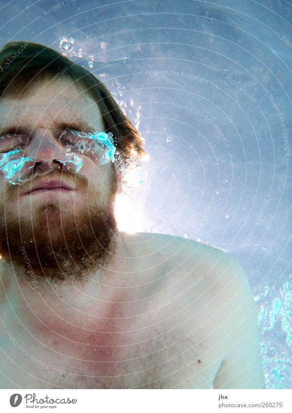 unter Wasser Leben Schwimmen & Baden Freizeit & Hobby Ferien & Urlaub & Reisen Sommerurlaub Sonne Freibad maskulin Junger Mann Jugendliche Gesicht Bart 1 Mensch