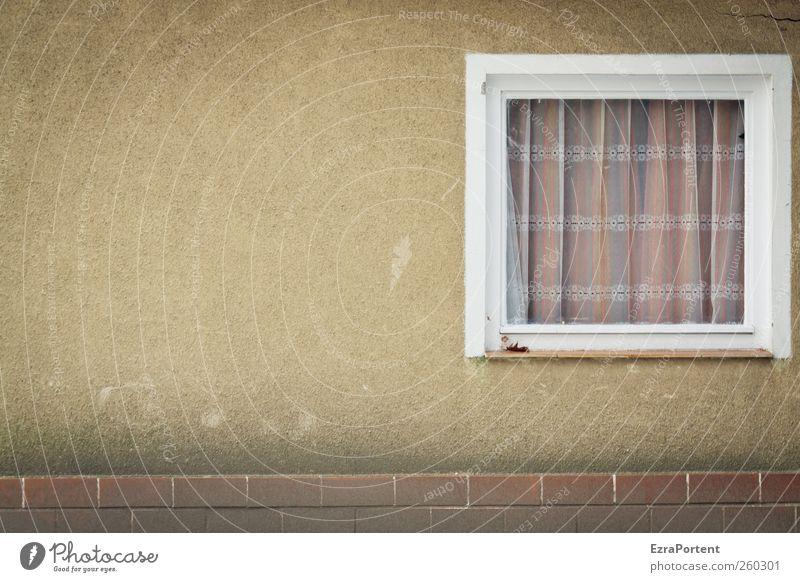 Windows Q Menschenleer Haus Bauwerk Gebäude Architektur Mauer Wand Fassade Fenster Stein Holz Glas eckig hässlich braun gelb grau weiß Putz Quadrat Gardine
