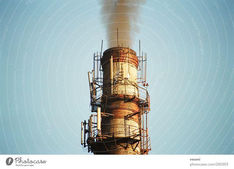 Schornstein Himmel blau Umwelt Stein Luft braun dreckig Energiewirtschaft Klima Feuer Zukunft Industrie bedrohlich gruselig Zukunftsangst Stress