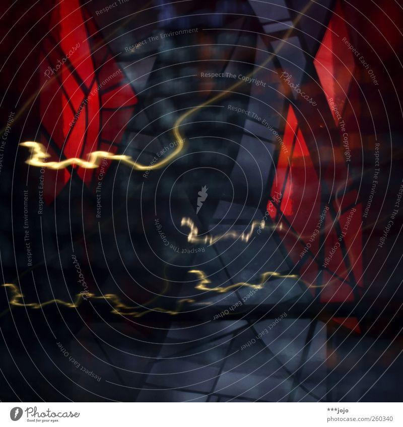delirium zwei. blau rot Farbe Bewegung träumen Glas Kirche leuchten Spuren violett Dynamik Rausch Lichtspiel Glasscheibe Mosaik Farbenspiel