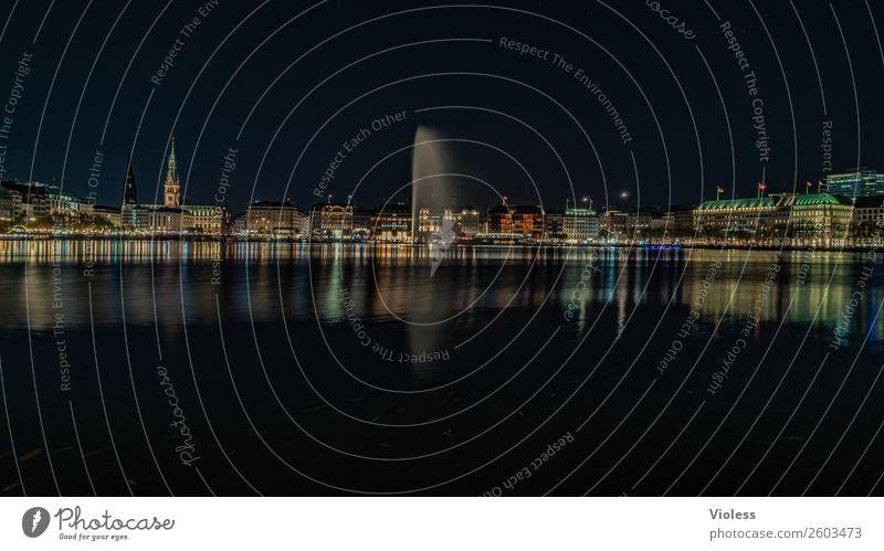 Hamburg bei Nacht Langzeitbelichtung Dämmerung Abend Hansestadt Jungfernstieg Licht Wasserfontäne Binnenalster Alster schwarz Ferien & Urlaub & Reisen glänzend