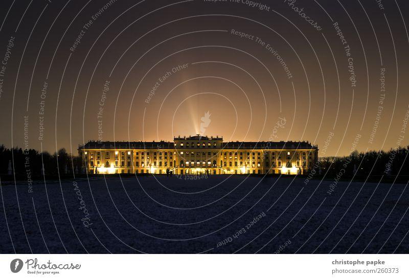Belvedere Wien Österreich Burg oder Schloss Bauwerk Gebäude Architektur Sehenswürdigkeit leuchten dunkel Tourismus Renaissance erleuchten Außenaufnahme