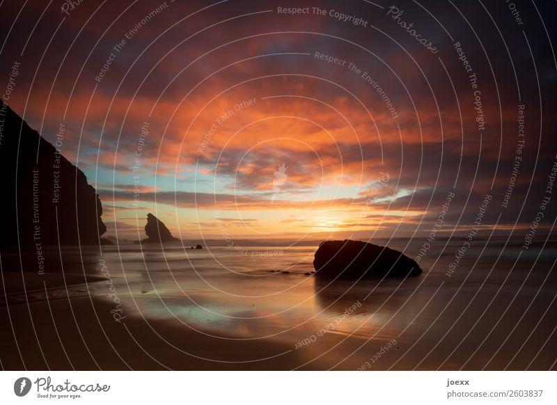 Also schließ ich die Augen Himmel Ferien & Urlaub & Reisen Natur Sommer blau schön Meer Wolken ruhig Strand schwarz Wärme Küste orange Felsen Horizont