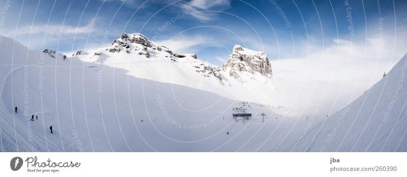 Pra Cluen Leben Ausflug Winter Schnee Winterurlaub Sport Wintersport Skipiste Landschaft Wolken Schönes Wetter Nebel Felsen Alpen Berge u. Gebirge Gipfel