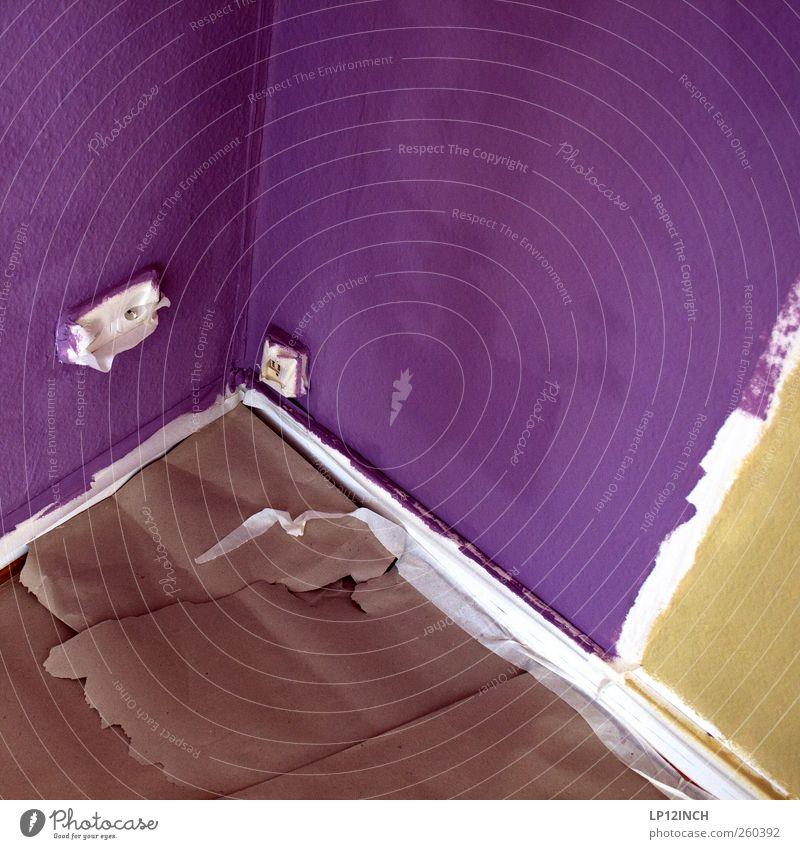 Wandmalerei III Farbe Arbeit & Erwerbstätigkeit Raum Wohnung Dekoration & Verzierung Häusliches Leben Bodenbelag Streifen Umzug (Wohnungswechsel) Tapete