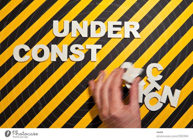 Handarbeit weiß Hand schwarz gelb Bewegung lustig Stil Lifestyle Design Schriftzeichen Hinweisschild Finger Streifen Kreativität Idee Buchstaben