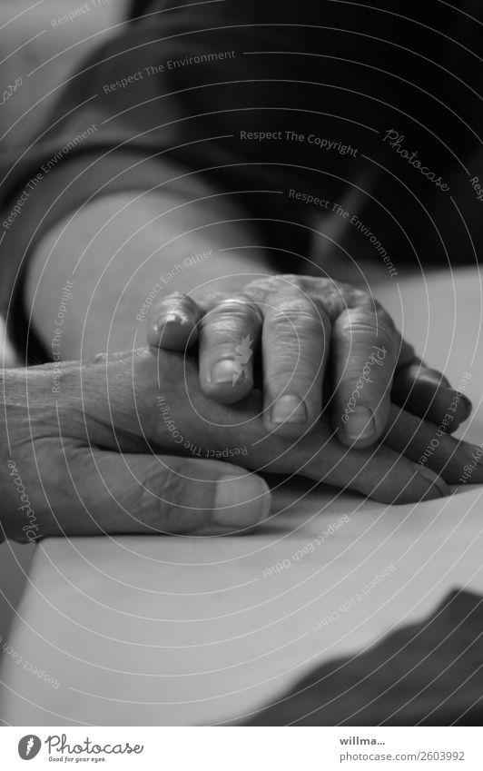 Hände eines alten Ehepaares. Zusammenhalt, Liebe, Fürsorge, Trost, Nähe Hand 2 Hände Alter Seniorenpflege Großeltern Paar Partner Leben berühren Partnerschaft