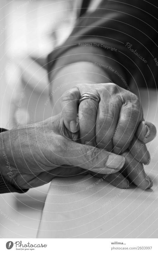 senioren drückt tröstend die hand ihres mannes - zusammenhalt Hand Paar Partner Senioren Alter berühren Ehering festhalten Mensch Gefühle Vertrauen Sicherheit