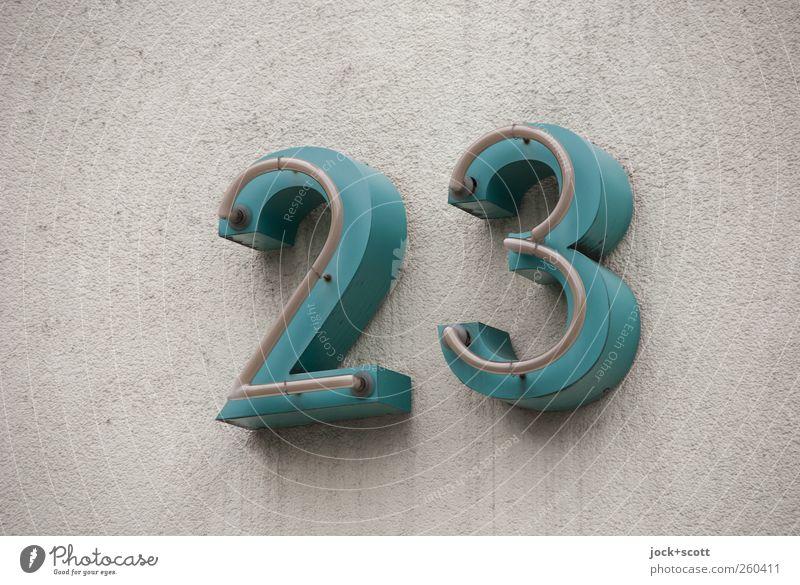 Dreiundzwanzig Kultur Wand Hausnummer Metall Hinweisschild 23 elegant groß retro grau grün Design Genauigkeit Präzision rein Ziffern & Zahlen Putz