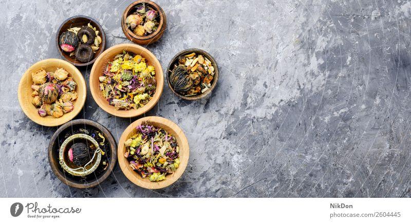 Verschiedene Arten von Blatt-Tee trinken schwarz Gesundheit trocknen Kraut Pflanze organisch Kräuterbuch Chinesisch natürlich Nahaufnahme Antioxidans Haufen