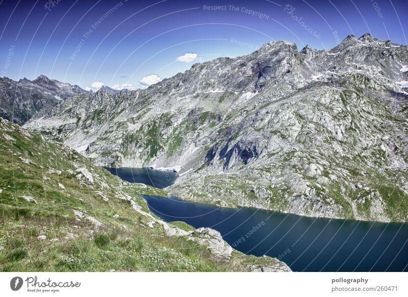 In der Ruhe liegt die Kraft Himmel Natur blau Wasser grün Ferien & Urlaub & Reisen Sommer ruhig Ferne Umwelt Landschaft Berge u. Gebirge Freiheit grau See Luft