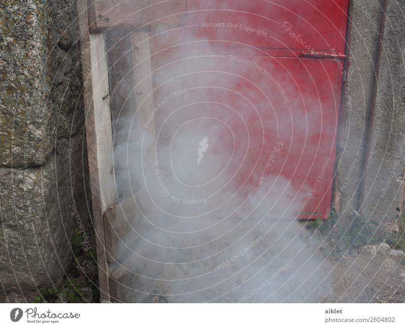rot Haus Wand Tür Feuer Rauch Zauberei u. Magie Tinte Granit