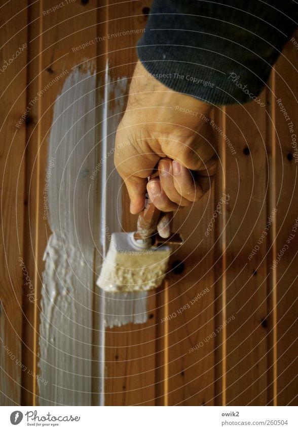 Einfaltspinsel Mensch weiß Hand schwarz Holz Farbstoff hell braun Arbeit & Erwerbstätigkeit Kraft Erfolg Finger Wandel & Veränderung Baustelle einfach streichen