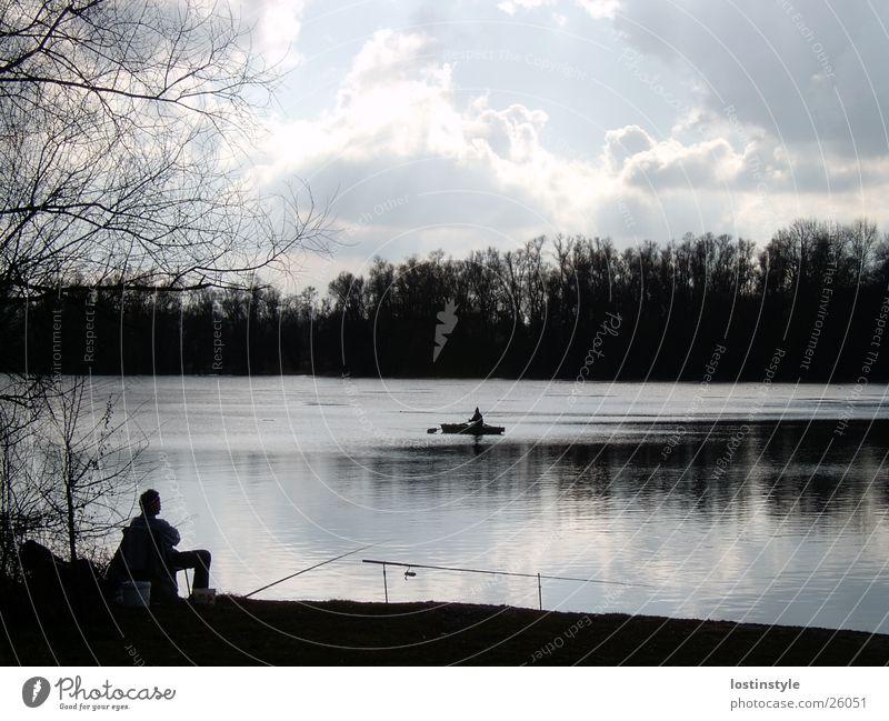 angler Angeln Angler Wasserfahrzeug Wolken Fluss Rhein Fisch