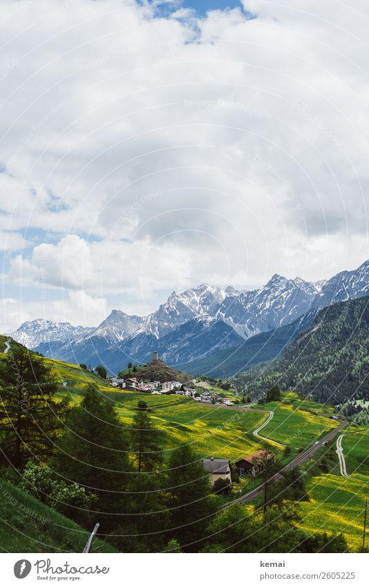 Die Schweiz Himmel Ferien & Urlaub & Reisen Natur Sommer grün Landschaft Baum Erholung Wolken ruhig Ferne Berge u. Gebirge gelb Wiese Freiheit Felsen