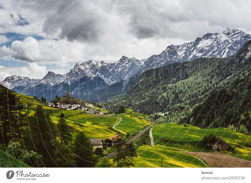 Schweizer Tag Himmel Ferien & Urlaub & Reisen Natur Sommer grün Landschaft Erholung Wolken ruhig Wald Ferne Berge u. Gebirge Tourismus Freiheit Felsen Ausflug