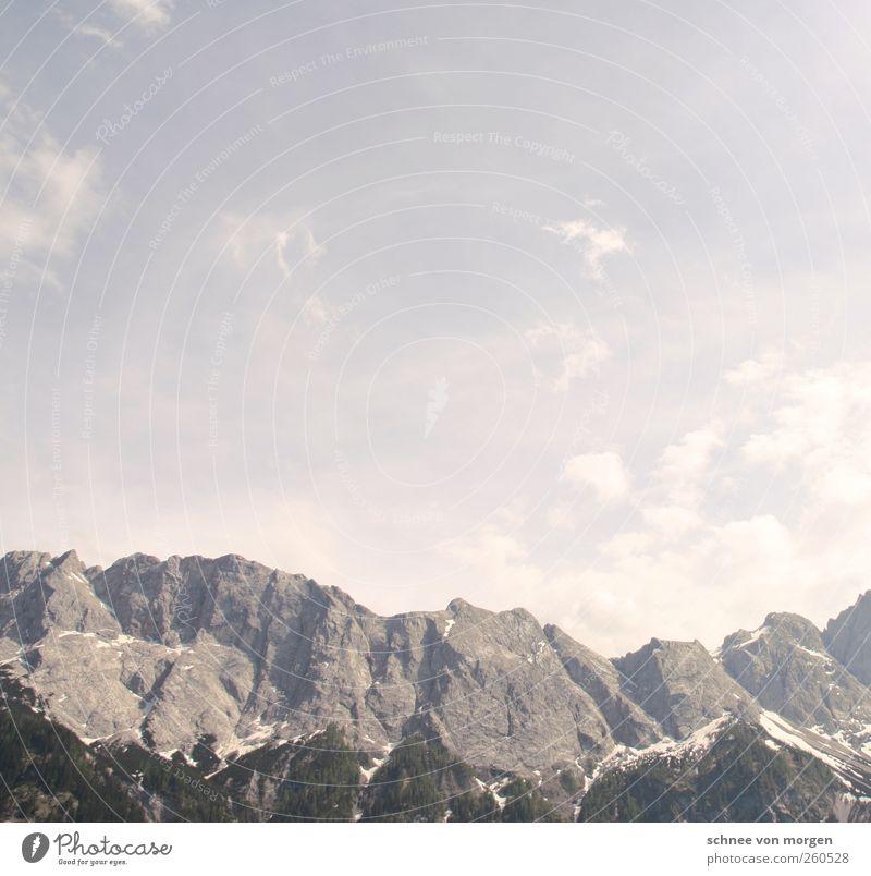 wolkenlos Umwelt Natur Landschaft Luft Wolkenloser Himmel Horizont Sonne Sonnenlicht Wetter Schönes Wetter Felsen Alpen Berge u. Gebirge Gipfel