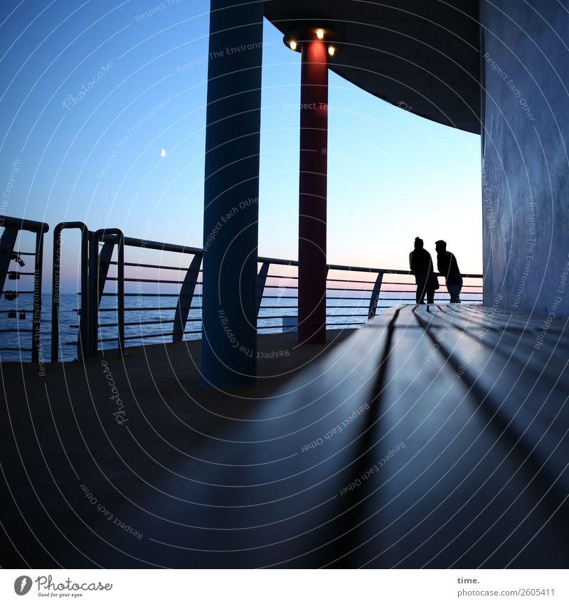 Feierabend Mensch Ferien & Urlaub & Reisen Erholung ruhig dunkel Architektur Wand Gefühle Zeit Mauer Zusammensein Stimmung Zufriedenheit Kommunizieren stehen