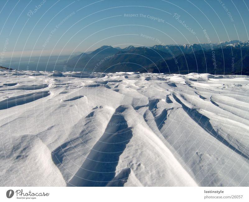 schneefurchen Winter Schnee Berge u. Gebirge See Formation Garda