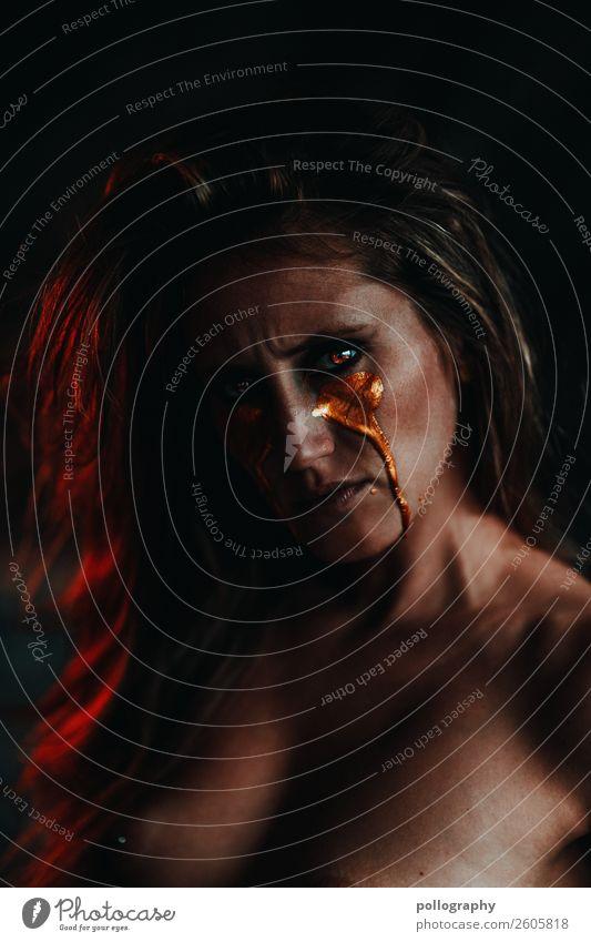 Golden Tears III Lifestyle feminin Erwachsene Kopf Gesicht 1 Mensch 18-30 Jahre Jugendliche Kunst Veranstaltung dunkel exotisch glänzend einzigartig trashig