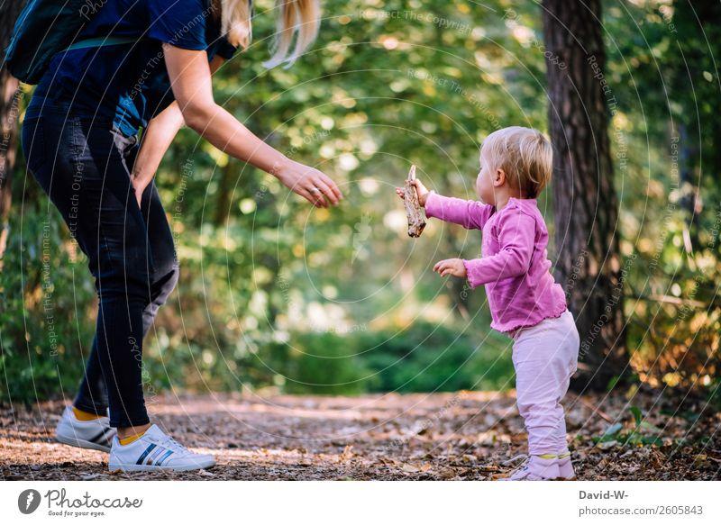 für dich Kindererziehung Mensch feminin Kleinkind Mädchen Frau Erwachsene Mutter Leben Hand 1 Umwelt Natur Herbst Schönes Wetter Wald Kommunizieren Blatt