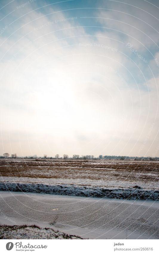 in eisigen zeiten. Himmel Natur Wasser Winter Ferne kalt Schnee Landschaft braun Erde Eis Feld Frost bedrohlich Flussufer bizarr