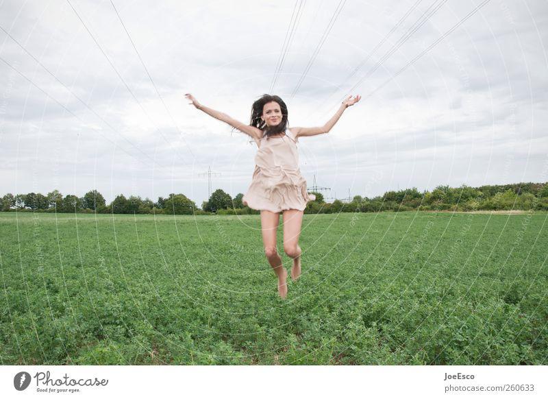 #260633 Frau Himmel schön Sommer Freude Erwachsene Leben Landschaft Freiheit springen Frühling Stil Horizont Feld fliegen natürlich