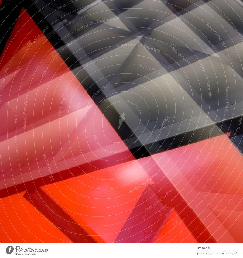 Rotlicht Lifestyle Stil Design Fassade Linie leuchten außergewöhnlich Coolness trendy einzigartig rot schwarz Farbe Perspektive Symmetrie Doppelbelichtung