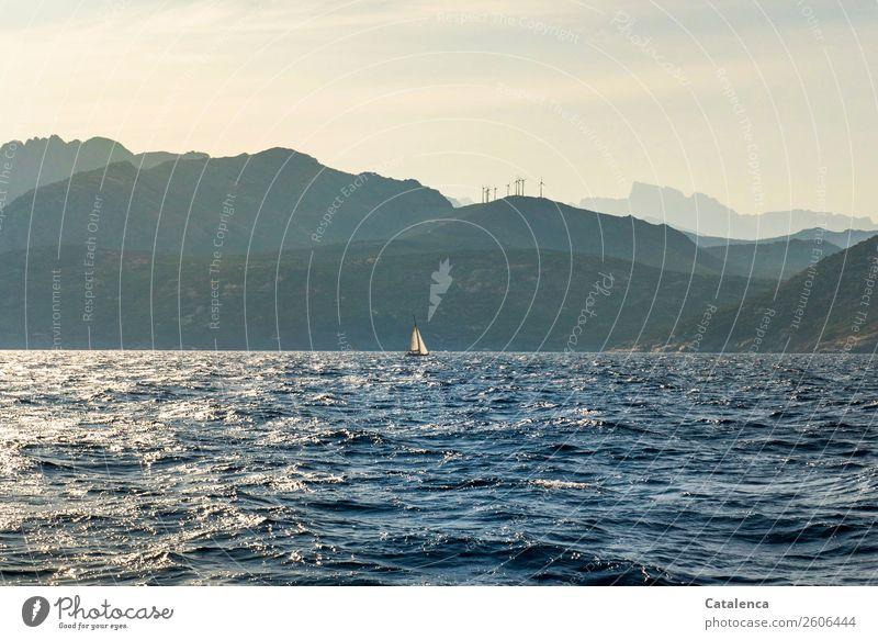 Windkraft Ferien & Urlaub & Reisen Sommer Sommerurlaub Wellen Segeln Erneuerbare Energie Windkraftanlage Landschaft Wasser Himmel Schönes Wetter Felsen
