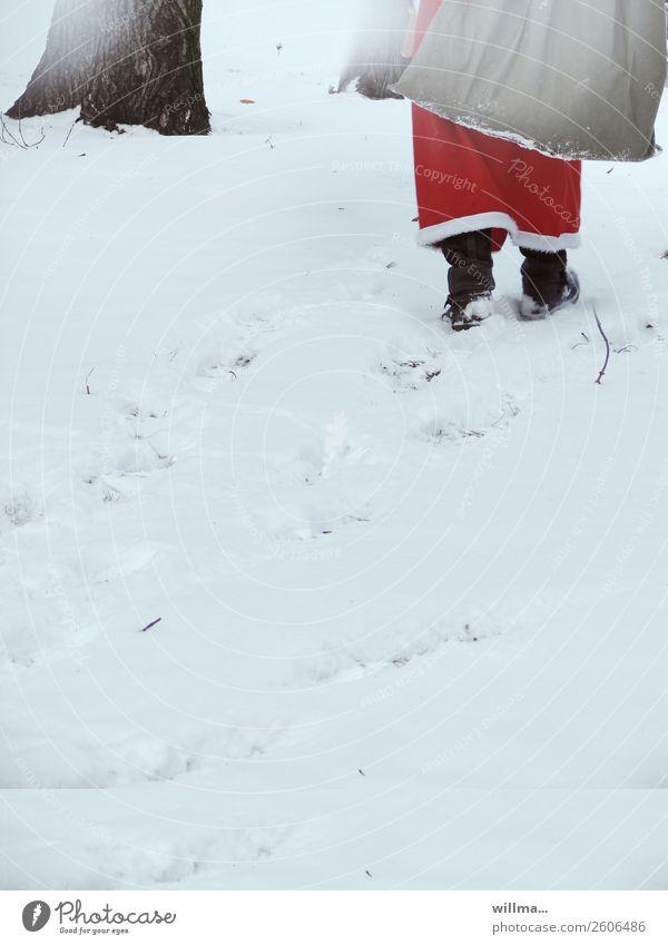der weihnachtsmann ... Mensch Mann Weihnachten & Advent Winter Erwachsene Schnee gehen Überraschung Dienstleistungsgewerbe Weihnachtsmann Sack