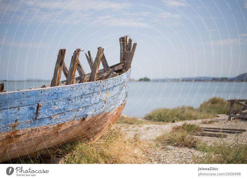 Himmel Natur Ferien & Urlaub & Reisen alt Sommer blau Farbe Landschaft Sonne Meer Wolken Holz Küste Wasserfahrzeug Verkehr retro