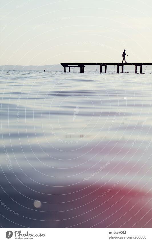 Die Leichtigkeit des Seins. Mensch Himmel Wasser Meer Erholung Kunst See Horizont Zufriedenheit Idylle ästhetisch Italien weich Frieden Steg Anlegestelle