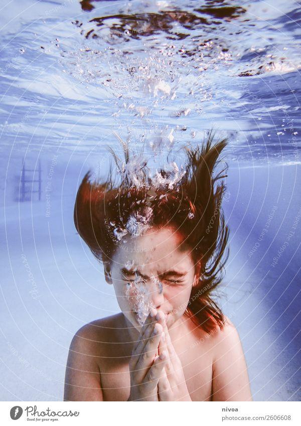Junge Unterwasser Schwimmbad Schwimmen & Baden Freizeit & Hobby Sport Wassersport tauchen Mensch maskulin Kind Kindheit Kopf Haare & Frisuren 1 8-13 Jahre Mauer