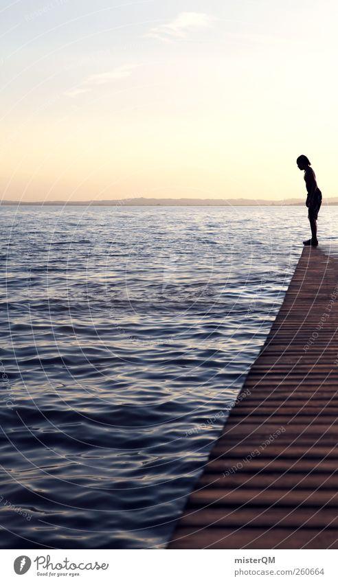 Mut. Kind Jugendliche Sommer Wasser Kunst See springen Horizont Zufriedenheit ästhetisch warten Romantik Hoffnung Sommerurlaub Steg