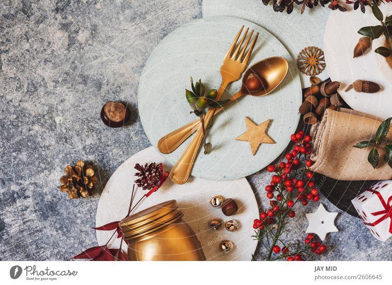 Feiertags-Tischdecke lustiger Weihnachtstisch mit Ornamenten Abendessen Teller Freude Glück Winter Dekoration & Verzierung Restaurant Ostern Erntedankfest