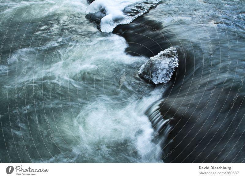 Lahn on the rocks Natur blau Wasser weiß Winter schwarz kalt Eis Wellen außergewöhnlich Frost einzigartig Fluss gefroren bizarr Wasseroberfläche