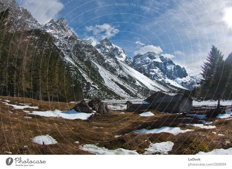 herzeben Erholung Ferien & Urlaub & Reisen Ausflug Abenteuer Freiheit Natur Urelemente Schönes Wetter Schnee Gras Alpen Berge u. Gebirge Schneebedeckte Gipfel