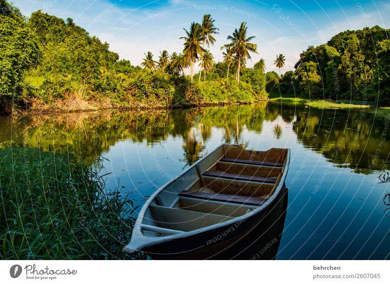 verlassen | wunderbar still Ferien & Urlaub & Reisen Natur schön Landschaft Baum ruhig Ferne Tourismus Freiheit außergewöhnlich Wasserfahrzeug Ausflug Idylle