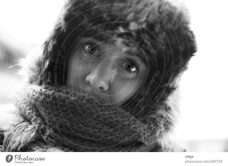 Iceage I Mensch Winter Gesicht Erwachsene Leben kalt Gefühle Wärme Stil Stimmung Eis Freizeit & Hobby Klima Frost weich Fell