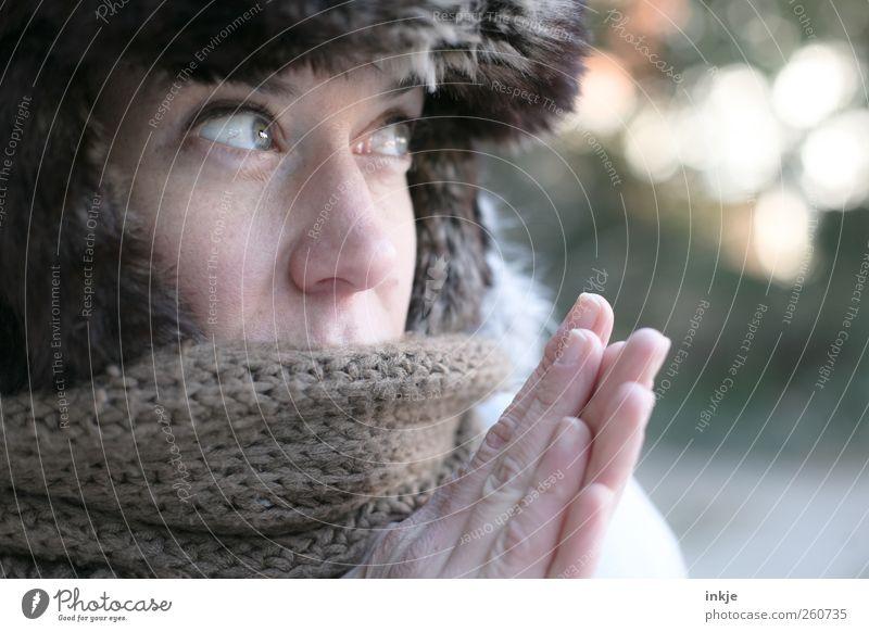 Iceage II Lifestyle Stil Winter Erwachsene Leben Gesicht Hand 1 Mensch Klima Eis Frost Fell Schal Mütze Pelzmütze frieren Blick kalt kuschlig Wärme Gefühle