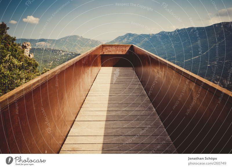 überragender Ausblick Himmel Natur Ferne Umwelt Landschaft Berge u. Gebirge Freiheit Holz Metall Hintergrundbild Felsen Ausflug Abenteuer Brücke Spitze Mitte