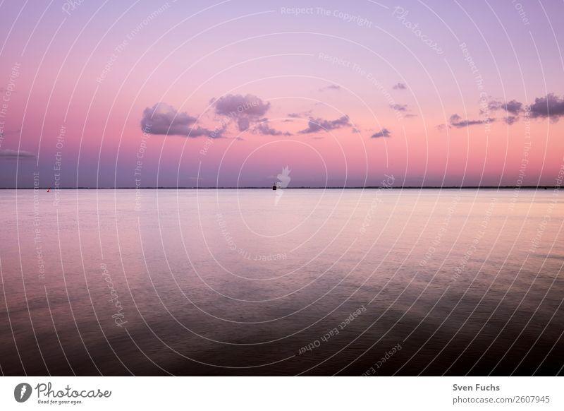 Sonnenuntergang über dem Jadebusen schön ruhig Ferien & Urlaub & Reisen Sommer Meer Natur Landschaft Wasser Wolken Horizont Küste Bucht Nordsee hell blau