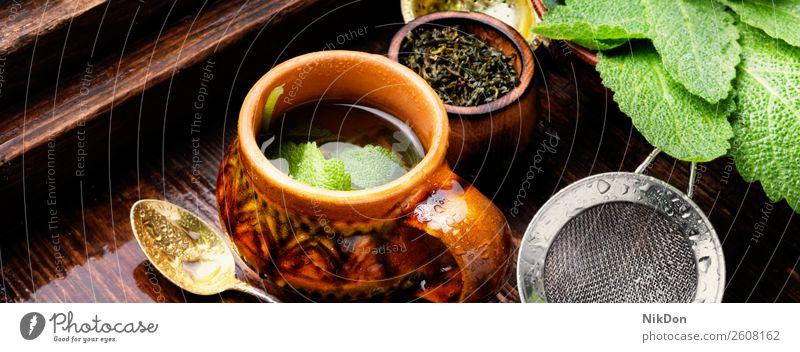 Kräutertee mit Salbei Tee trinken Tasse Kraut Pflanze heiß natürlich hölzern Kräuterbuch Medizin Gesundheit Getränk grün Aroma Frische aromatisch medizinisch