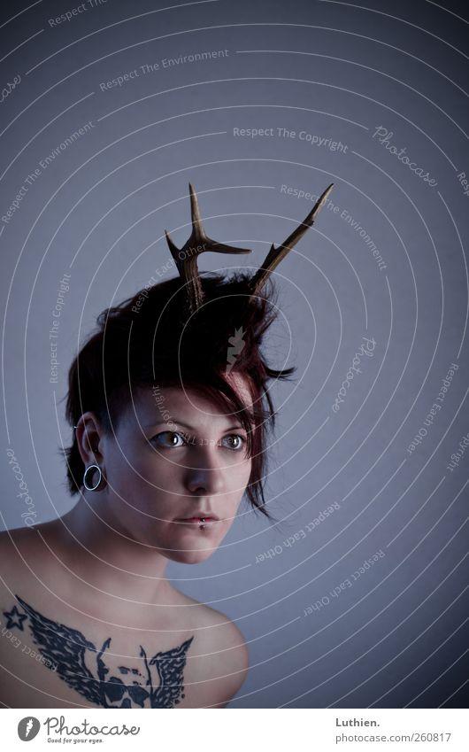 wie ein Reh wenns blitzt. Mensch feminin Frau Erwachsene Haut Kopf Gesicht Mund Brust Schulter 1 Accessoire Horn atmen beobachten Jagd Blick außergewöhnlich